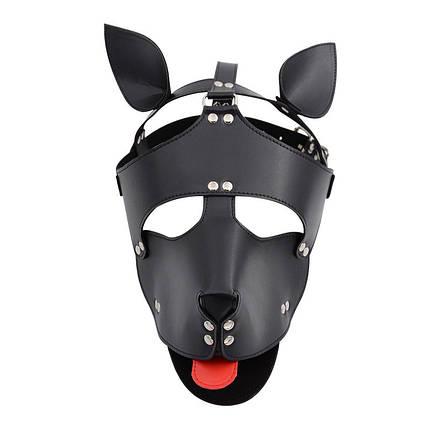 Маска собаки с красным языком кожаная Dog Leather Mask BDSM, фото 2