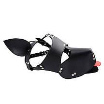 Маска собаки с красным языком кожаная Dog Leather Mask BDSM, фото 3
