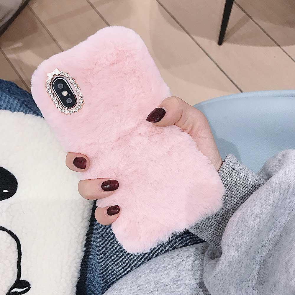 Меховой чехол для  Samsung A30  Pink