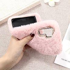 Меховой чехол для  Samsung A30  Pink, фото 3