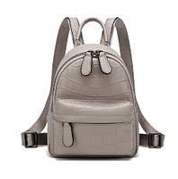 Молодежный женский городской рюкзак  из натуральной кожи, серый, фото 1