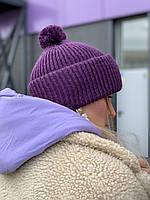 Шапка в'язана SNPx7 фіолетова, фото 1