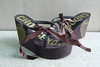 Женские шлепанцы на танкетке Juicy Cuture ( koir 538 коричневые )
