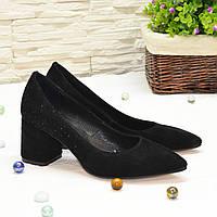 Туфли женские замшевые с камнями на устойчивом каблуке, цвет черный