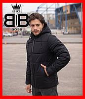 """Куртка зимняя мужская стильная """"Glacier"""", черная. Куртки молодежные."""