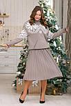 Теплый костюм с юбкой плиссе миди «Снежка», фото 2