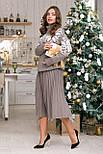 Теплый костюм с юбкой плиссе миди «Снежка», фото 3
