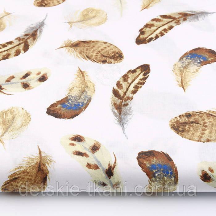 """Отрез ткани """"Перья куропатки"""" коричневые на белом №2225а, размер 50*160 см"""