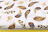"""Отрез ткани """"Перья куропатки"""" коричневые на белом №2225а, размер 50*160 см, фото 3"""