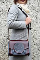 """Темно-бордовая кожаная сумка ручной работы с тисненым орнаментом """"Мандала"""", фото 1"""