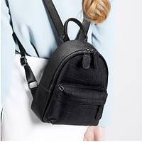 Молодежный женский городской рюкзак  из натуральной кожи, черный, фото 1