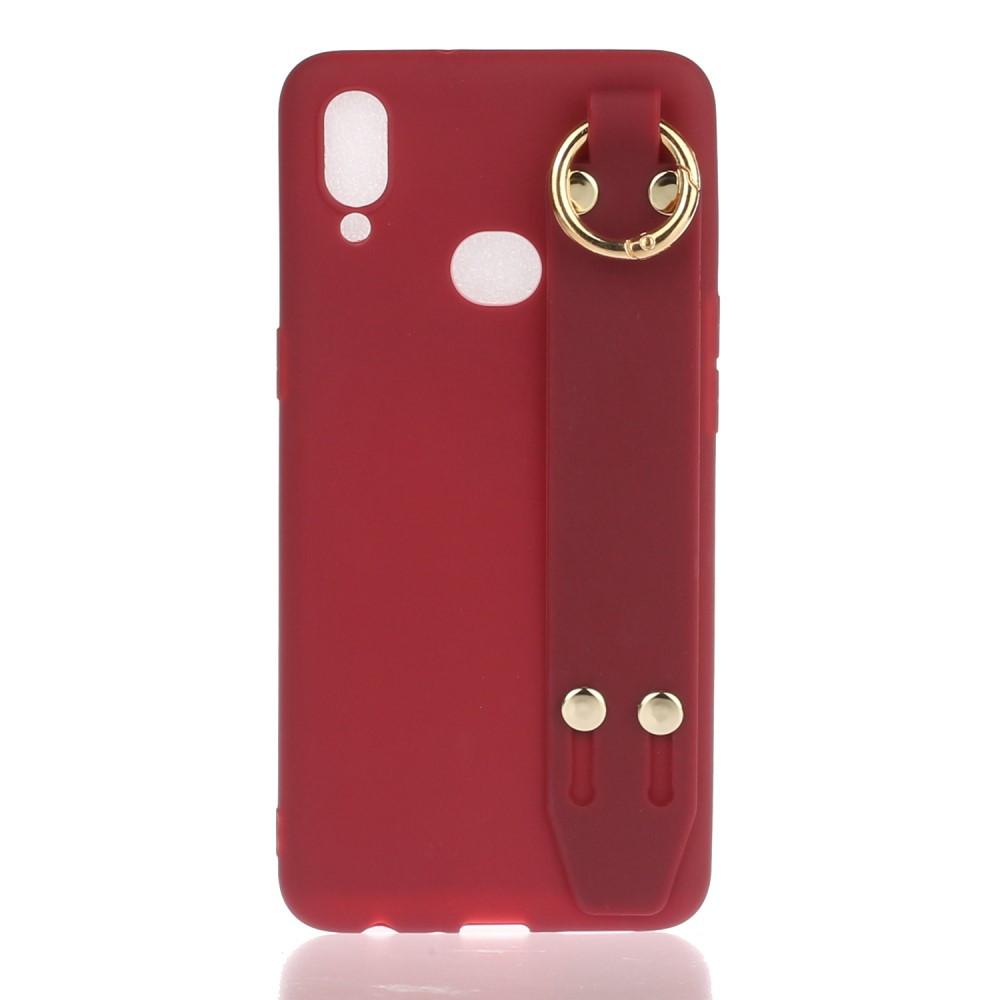 Чехол накладка для Samsung Galaxy A10s A107FD силиконовый матовый с подставкой, красный