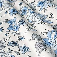 Ткань для скатерти с тефлоновым покрытием, голубые цветы на белом фоне