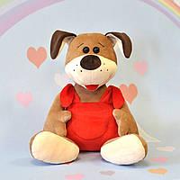 Мягкая игрушка собака  пес 28 х 26 см, красный, фото 1