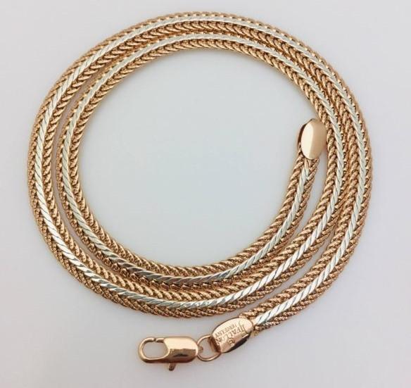 Цепочка Fallon, плетение Кельт, Н-0.6 длина 50 см позолота+ родий