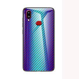 Чехол накладка для Samsung Galaxy A10s A107FD с зеркальной поверхностью,  Карбон, голубой