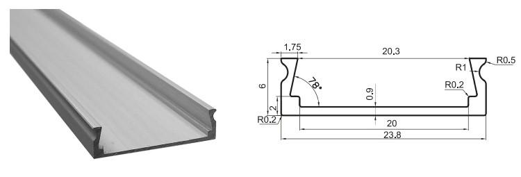 Алюмінієвий профіль для світлодіодних стрічок LR42 4819
