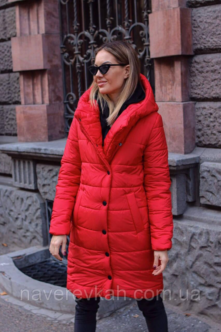 Женская осенняя куртка на синтепоне черная красная S M L
