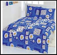 Махровое постельное белье евро Karbeltex Blue daisy