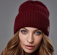 Шапка женская бордовая, шапка жіноча