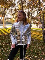 Куртка женская короткая серебрянного цвета норма и батал, фото 1