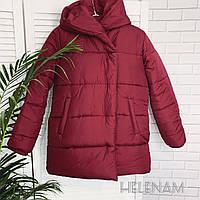 Женская зимняя теплая куртка на синтепоне черный марсала оливка 42 44 46, фото 1