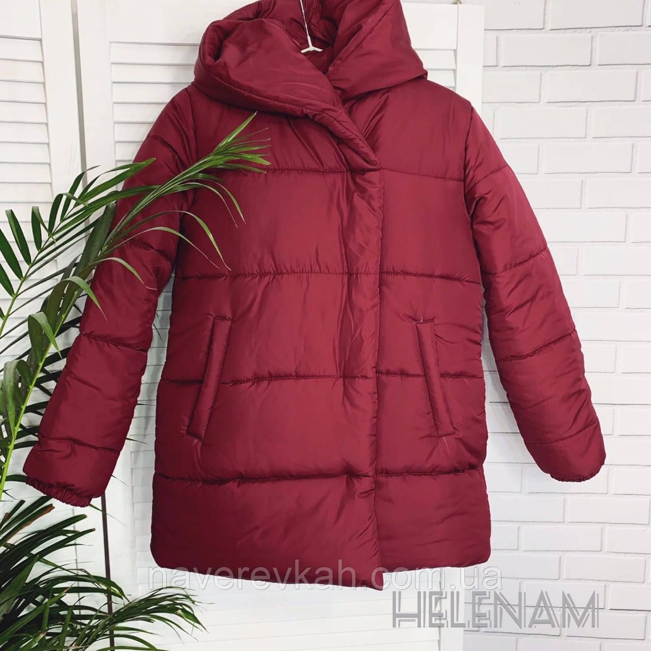 Женская зимняя теплая куртка на синтепоне черный марсала оливка 42 44 46