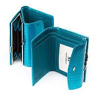 Надёжный лаковый голубой кошелёк натуральная кожа женский SERGIO TORRETTI(12*9*3см), WS-11 light-blue