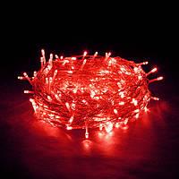 🔥 Гирлянда Нить светодиодная  LED 100 лампочек Красная, 650 см, прозрачный провод