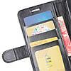 Чехол книжка для Vivo Y17 боковой с отсеком для визиток, Гладкая кожа, Черный, фото 8