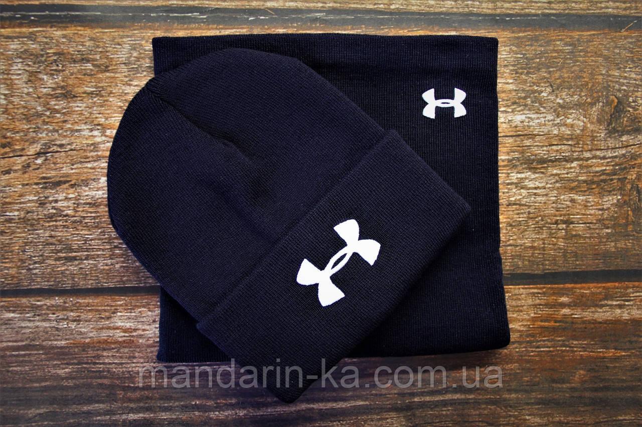 Комплект зимний мужской синий  шапка + бафф. Реплика