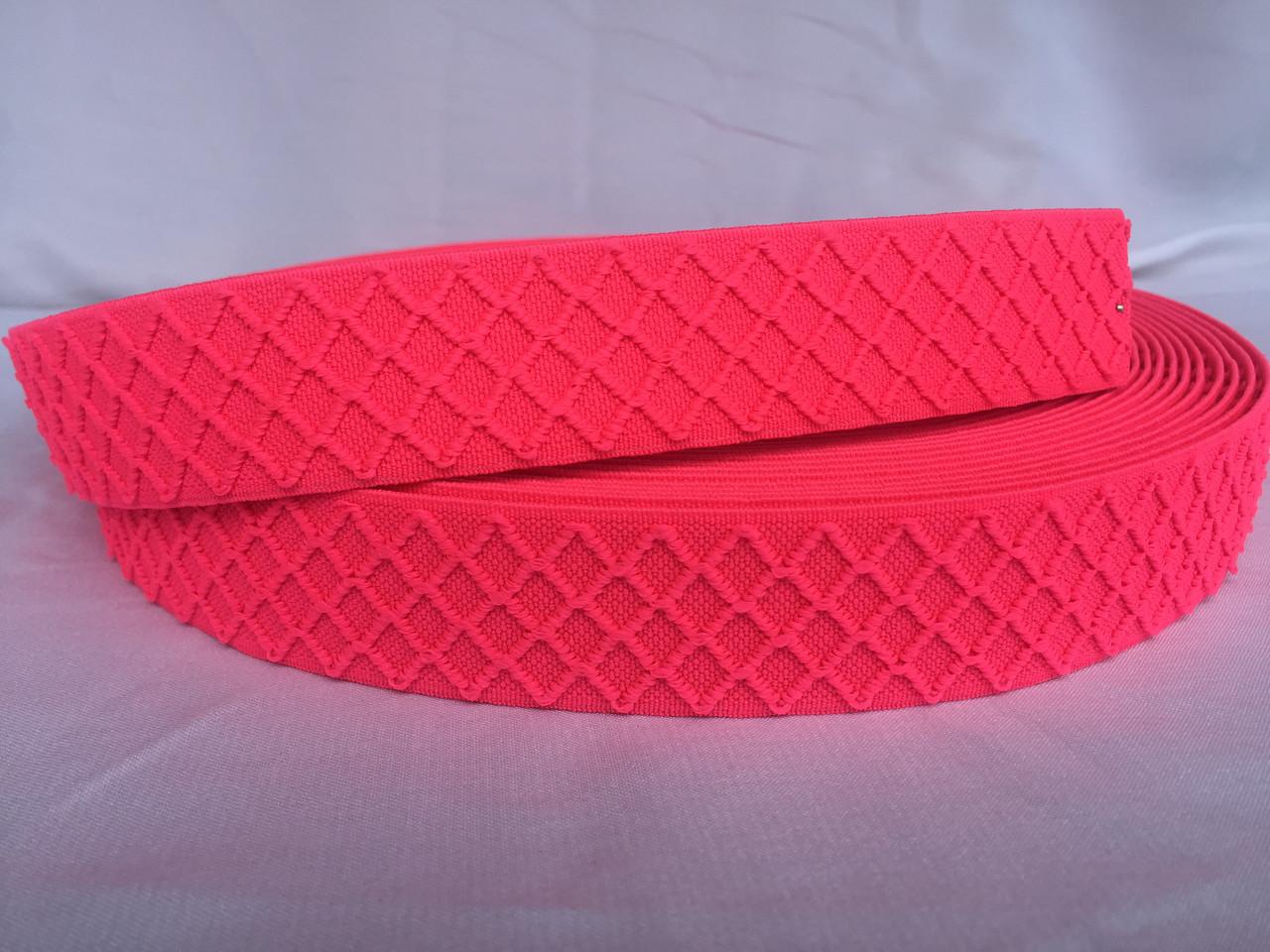 Резинка поясная 3 см 25м ярко-розовая