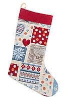 Сапожок новогодний для подарков гобеленовый 25х37 см чобіток для подарунків різдвяний гобеленовий