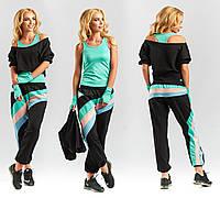 Стильный крутой молодежный женский трикотажный летний спортивный костюм тройка. Арт-6457/40