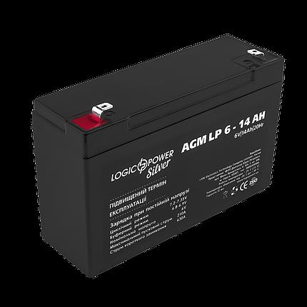 Аккумулятор AGM LogicPower LP 6-14 AH SILVER, фото 2