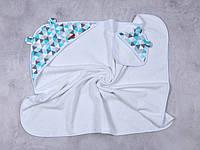 """Махровый комплект для купания малыша (полотенце+мочалка) """"Delta"""" голубое"""