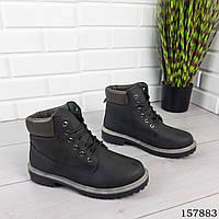 Мужские ботинки демисезонные на шнурках, серого цвета из эко нубука, внутри текстильный утеплитель