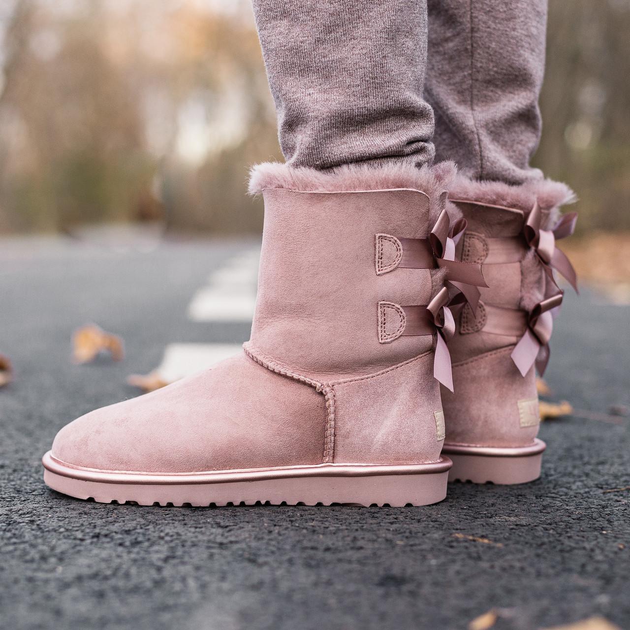 Женские Угги UGG Biley bow II boot Pink Cryctal