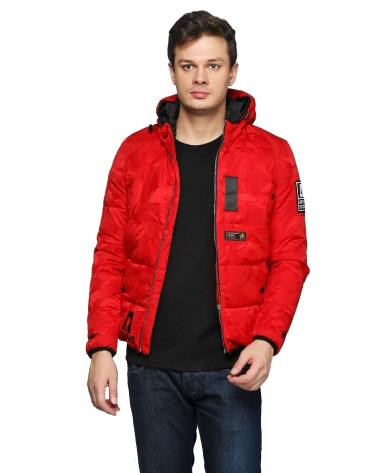Куртка зимняя мужская короткая, красный пуховик размер 46 (XL) СС-7862-35