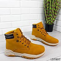 Мужские ботинки демисезонные на шнурках, рыжего цвета из эко нубука, внутри текстильный утеплитель