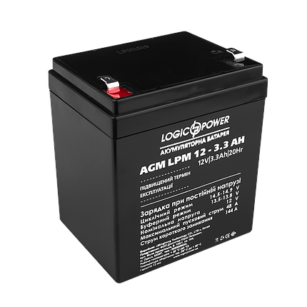 Аккумулятор кислотный AGM LogicPower LPM 12 - 3,3 AH, фото 2