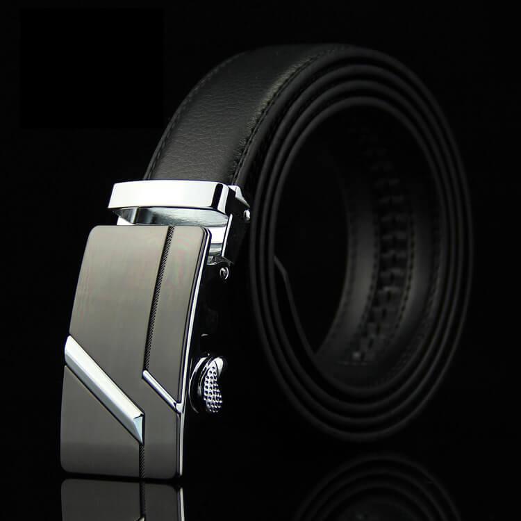 Мужской Ремень Кожаный с Автоматической Пряжкой Пояс (004) Черный 115см