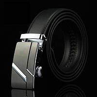 Мужской Кожаный Ремень Пряжка Автомат (004) Черный 115см