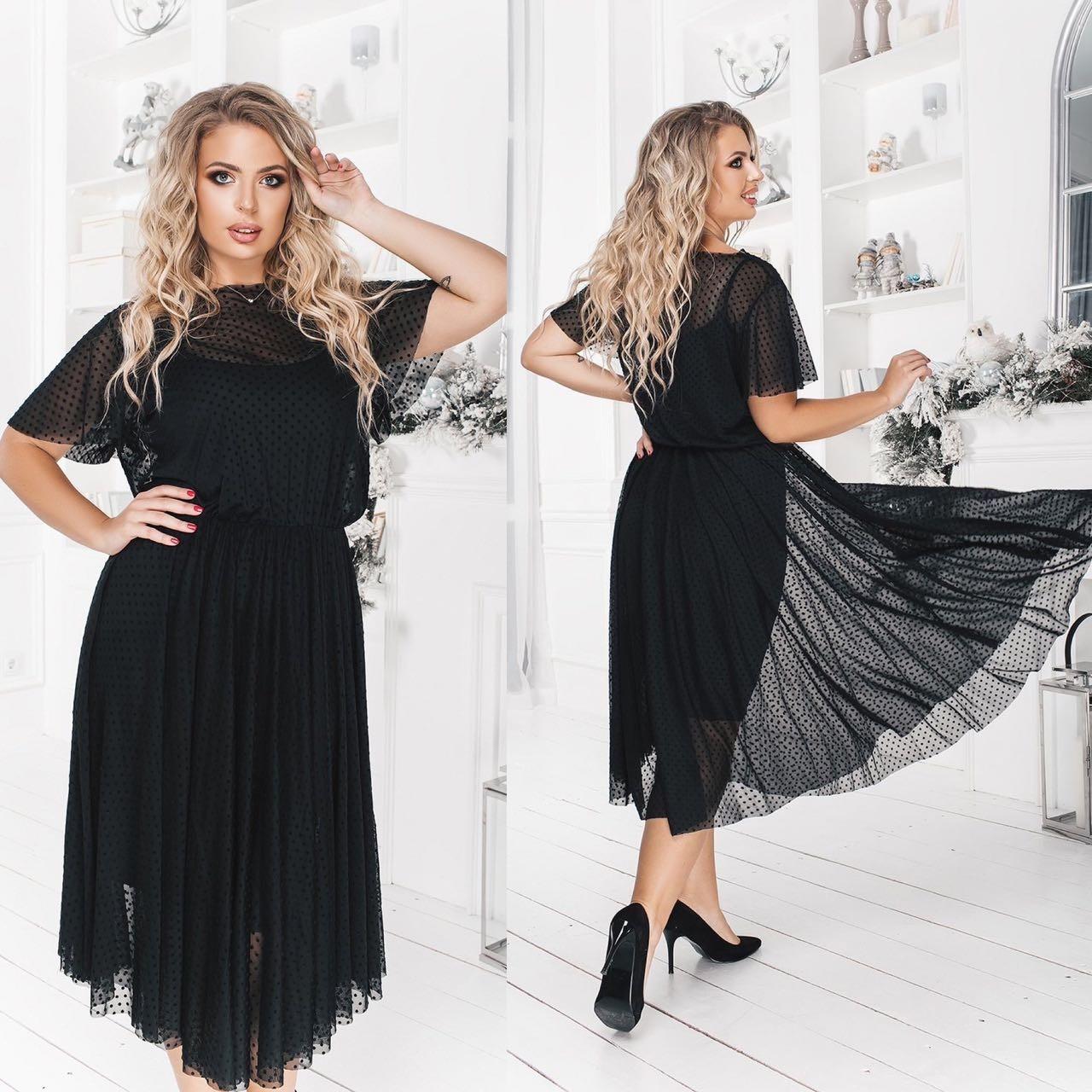 Платье двойка БАТАЛ   миди 702074