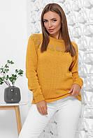S-L / В'язаний жіночий светр з орнаментом Tvix, гірчиця