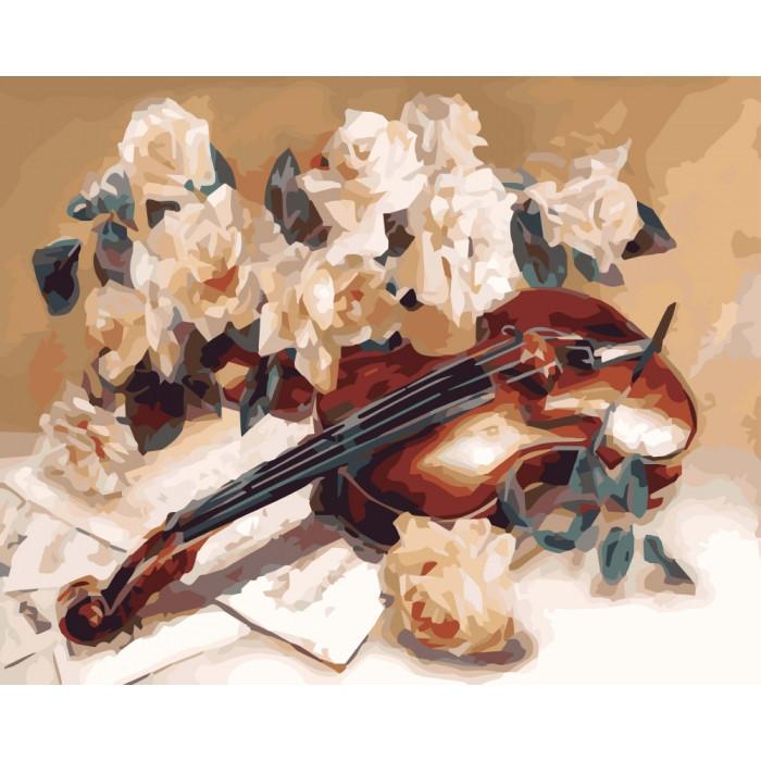 Картина за номерами Мелодія скрипки КНО5500 Ідейка 40х50см