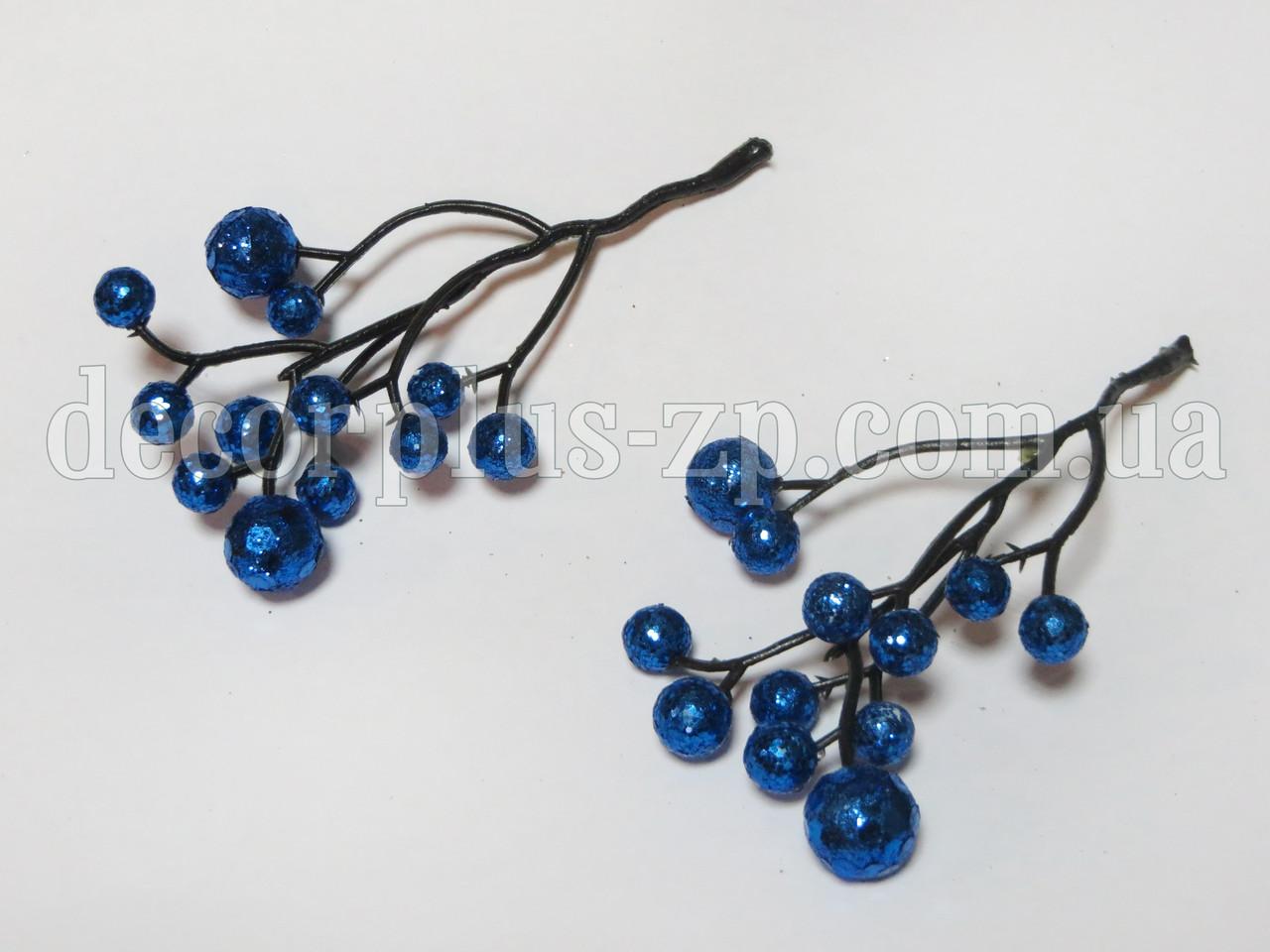 Веточка с ягодками в глиттере, синие