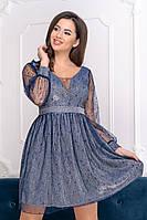 Коктейльное платье 9211 Серый/голубой