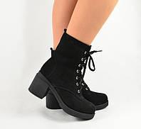 Ботинки Viscala женские черный нубук, на шнурках и молнии, зима овчина 40