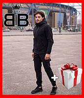 Куртка мужская демисезонная Softshell, черный, комплект штаны + куртка + подарок. Есть опт.